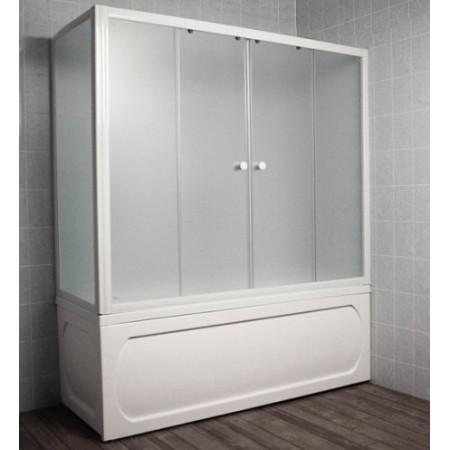 Шторка на ванну 1MarKa 170 профиль белый, стекло рифленое
